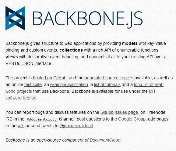 Backbone 1.1.0 发布,部分内容与版本1.0不兼容